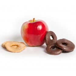 Chocolate dipped dried apple rings